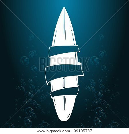 vector Surfing illustration or emblem. Stylized image of surfboard. Design element, Logo.