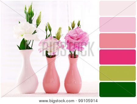 Beautiful flowers in vases and palette of colors