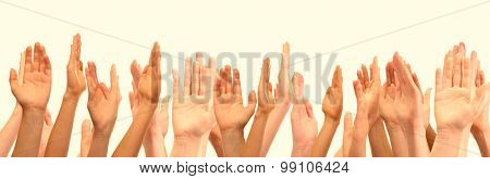 People's hands on light background