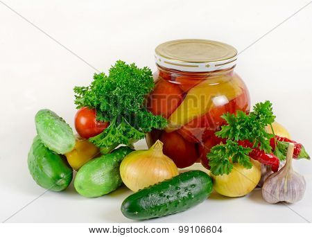 Set Of Vegetables And Bank Of Tinned Vegetables