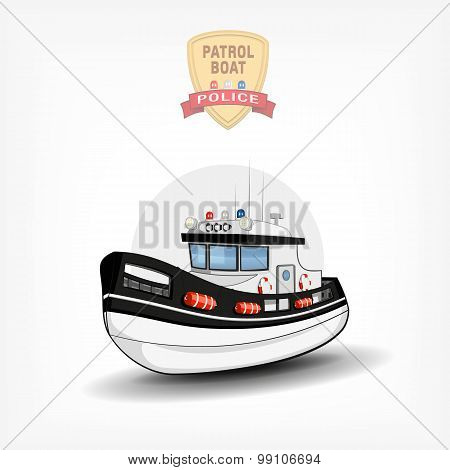 Vector color handdrawn illustration of a isolated police boat. Side view.
