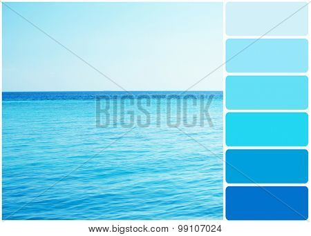 Clear ocean water in resort and palette of colors