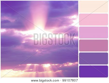 Lilac sky with sunny light and palette of colors