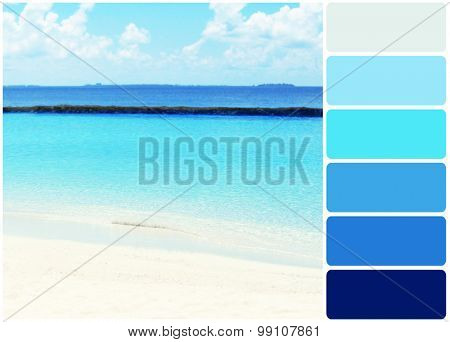 View of beautiful blue ocean water in resort and palette of colors