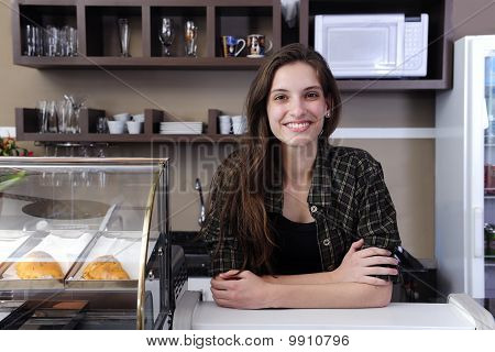 Owner Of A Cafe Or Waitress