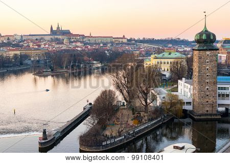 sunset view of Prague castle and old town, Czech Republic