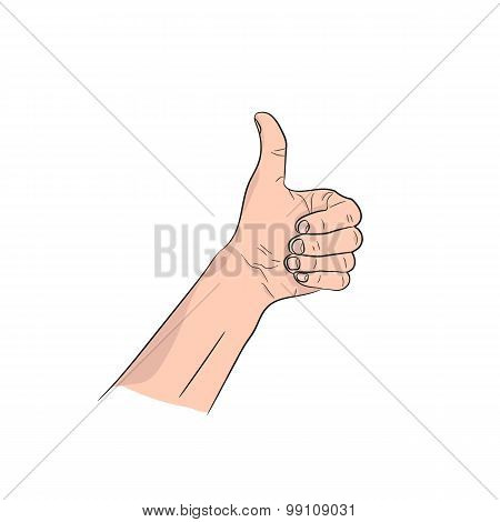 Thumb up man's hand vector