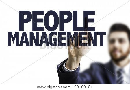 Business man pointing the text: People Management