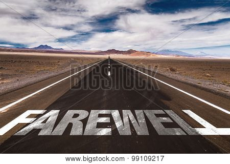 Farewell written on desert road