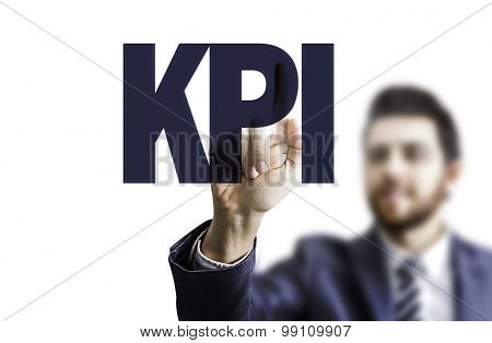 Business man pointing the text: KPI