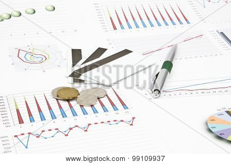 Business Still-life Of A Coins, Credit Card, Pen, Charts