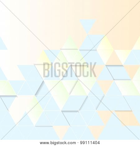 Light geometric technology background. Triangles pattern. Vector design