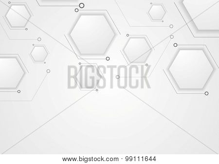 Grey corporate tech drawing design. Vector hexagons background