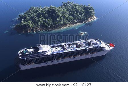Passenger ship near the island.