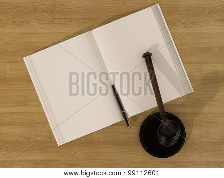 Wooden Judges Gavel And Open Book On The Wooden Background