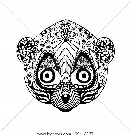 Zentangle stylized lemur. Animals. Black and white hand drawn doodle.