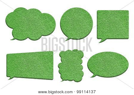 Green Grass In Bubble Speech Shape Isolated On White