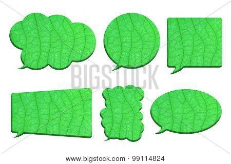 Green Leaf In Bubble Speech Shape Isolated On White