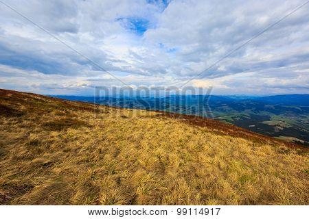 landscape with mountain meadow in Carpathians