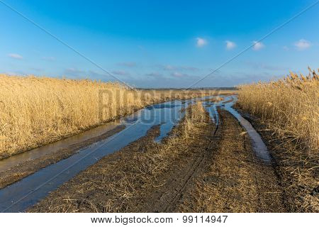 landscape with dirty road wit puddles in steppe