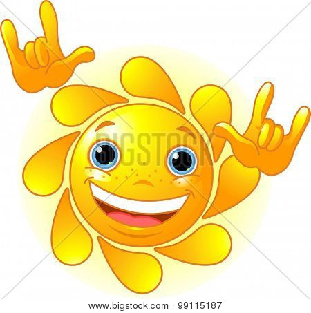 Cute and shiny Sun showing I love you gesture