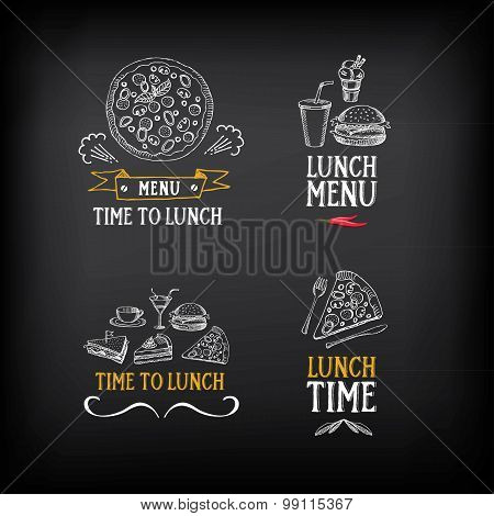 Lunch menu logo and badge design. Vector with graphic.