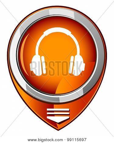 Vector Headphones Orange Pointer