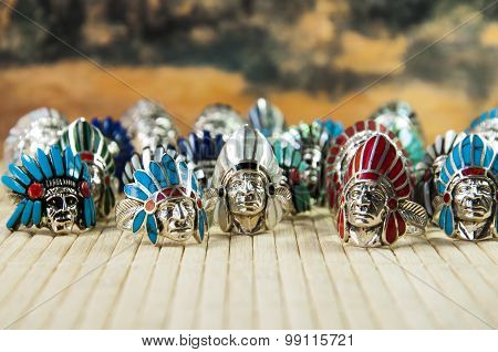 Indian Chief shaped silver rings