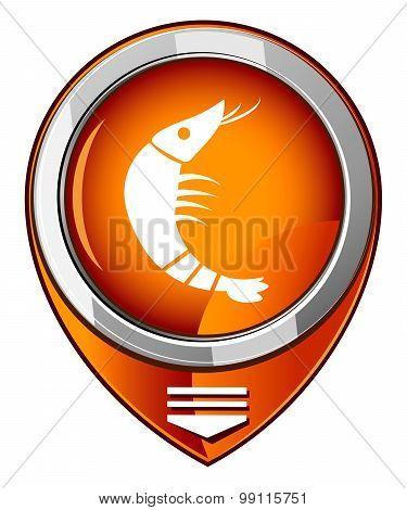 Shrimp. Orange Map Pointer.