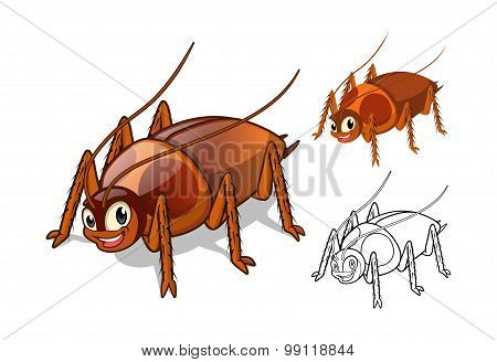 Detailed Cockroach Cartoon Character with Flat Design and Line Art Black and White Version