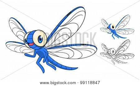 Detailed Dragonfly Cartoon Character with Flat Design and Line Art Black and White Version
