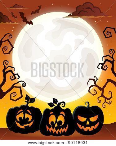 Moon with Halloween pumpkin silhouettes - eps10 vector illustration.