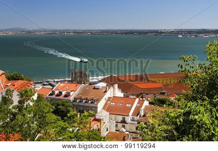 Aerial view of Lisbon from Sao Jorge Castle, Portugal, Europe