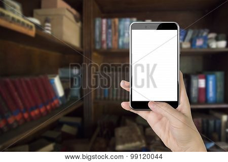 Woman Hand Holding Smart Phone With Thumb Pushing Button