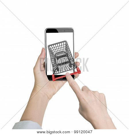 Female Forefinger Pushing Shopping Cart On Smartphone Of White Screen