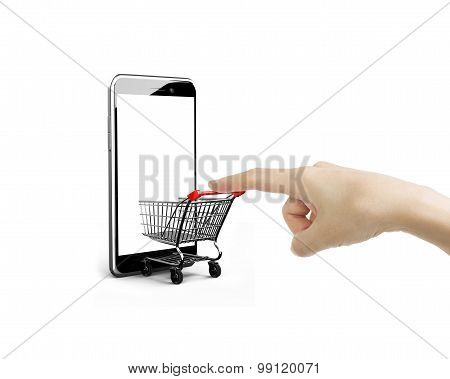 Female Forefinger Pushing Shopping Cart Entering Smartphone Of White Screen