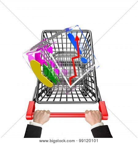 Hands Pushing Shopping Cart With Glass Transparent Cube