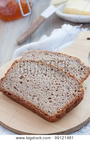 slices of gluten free bread made with various gluten free flours and  psyllium husk powder