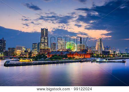 Yokohama, Japan skyline at the bay.