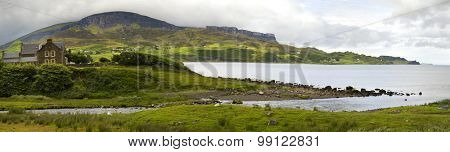 Beautiful landscape with mountains, hills and house at Garrafad, isle of skye, Scotland