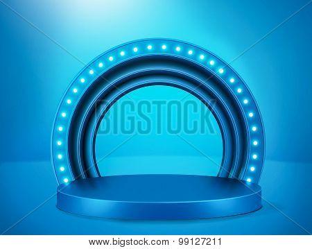 Illuminated blue stage podium