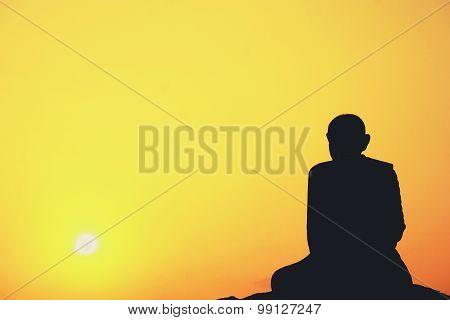 Meditation Of Thai Monk Statue
