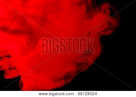 Abstract Red-orange Smoke Hookah On A Black Background.