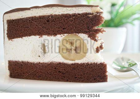 Piece Of Chocolate With Banana Cake