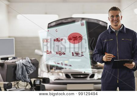Engineering interface against smiling mechanic holding a clipboard next to a car