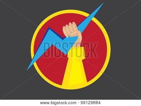 Fist Holding Thunderbolt Round Symbol