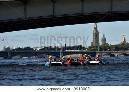 ST. PETERSBURG, RUSSIA - AUGUST 15, 2015: Unidentified riders on the start of the River marathon Oreshek Fortress race. This international motorboat competitions is held since 2003