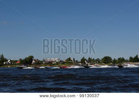 ORESHEK FORTRESS, LENINGRAD OBLAST, RUSSIA - AUGUST 15, 2015: Start of the second stage of the River marathon Oreshek Fortress race. This international motorboat competitions is held since 2003