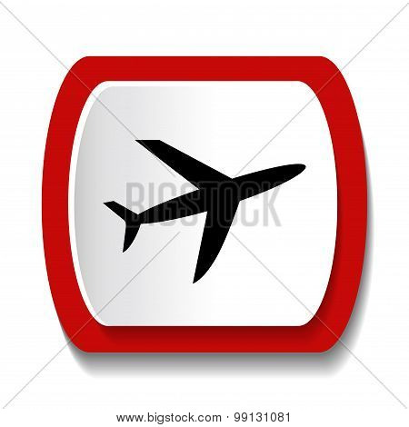 Vector icon with the image of an airplane