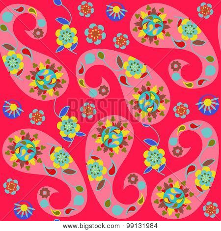 Paisley Seamless Pattern With Cute Abstract Paisley And Flowers And Seamless Pattern In Swatch Menu,